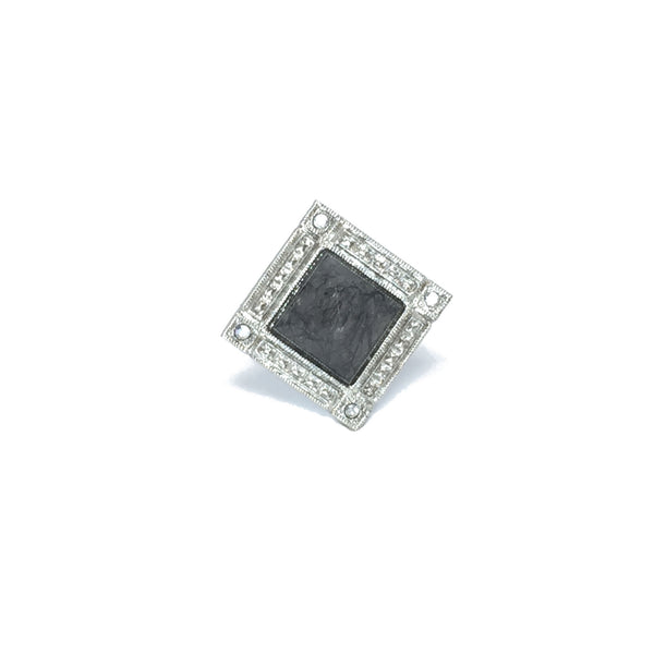 Cocktail ring silver with black and clear rutilated quartz natural stone
