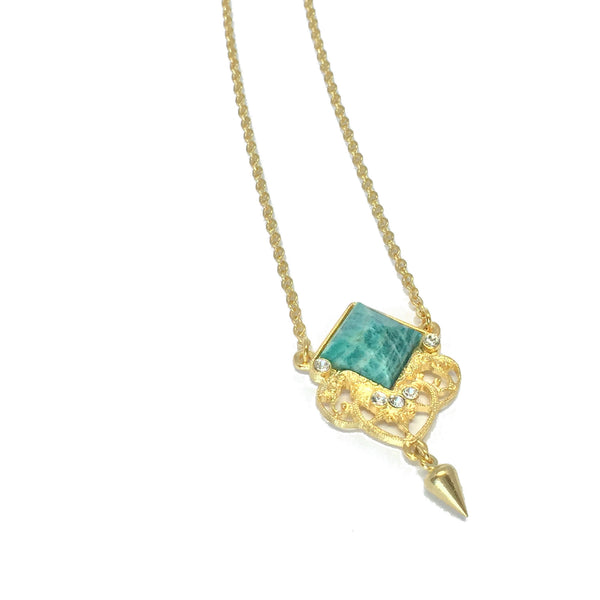 Delicate gold necklace with natural amazonite stone and small teardrop charm