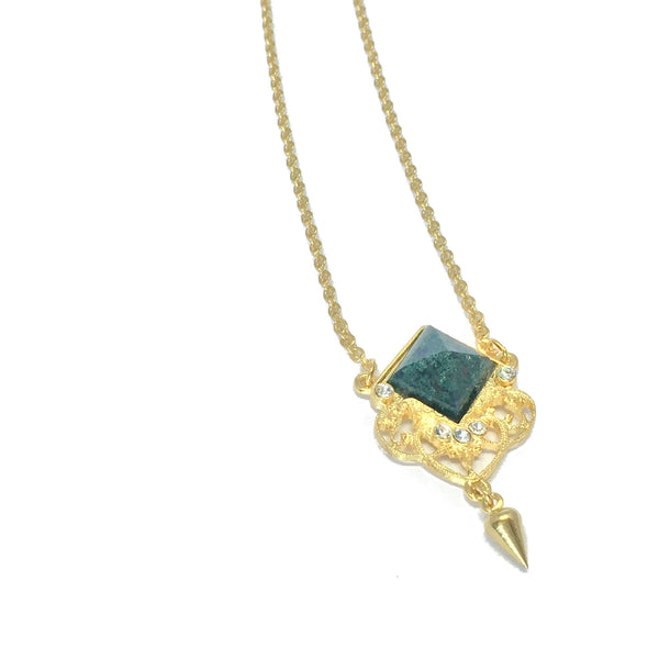 Delicate gold necklace with natural moss agate stone and small teardrop charm