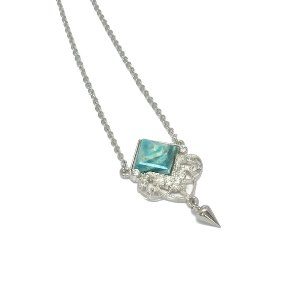 Delicate silver necklace with natural amazonite stone and small teardrop charm