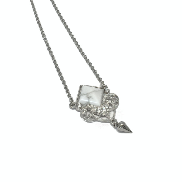 Delicate silver necklace with natural marble howlite stone and small teardrop charm