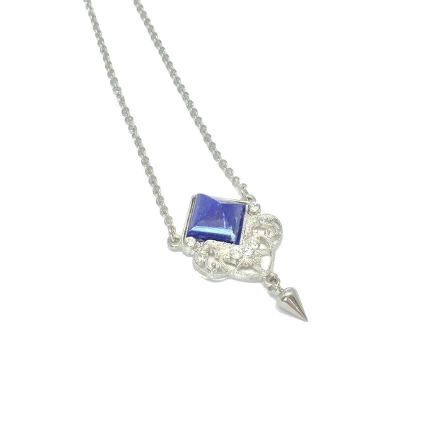 Delicate silver necklace with natural royal blue lapis stone and small teardrop charm