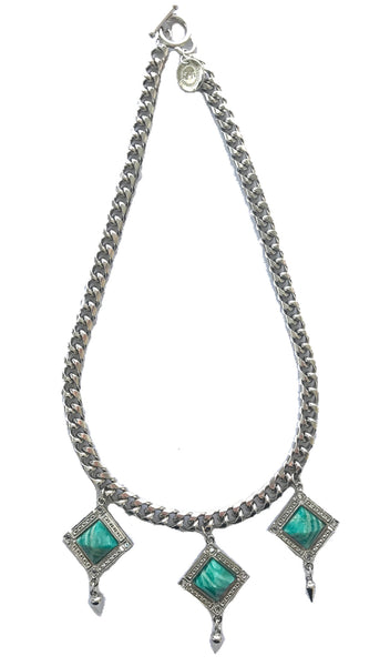 Bird Of Paradise statement necklace silver and amazonite