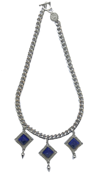 Bird Of Paradise statement necklace silver and lapis