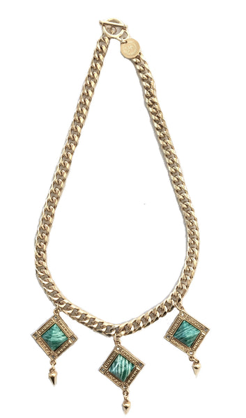 Bird Of Paradise statement necklace gold and amazonite