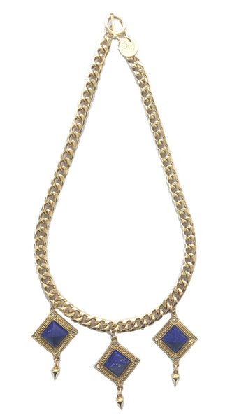 Bird Of Paradise statement necklace gold and lapis