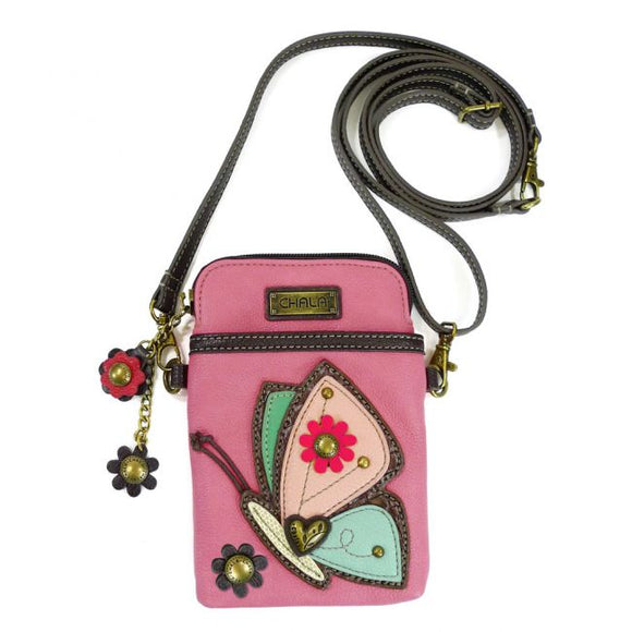 Butterfly Cellphone Crossbody Bag - Pink