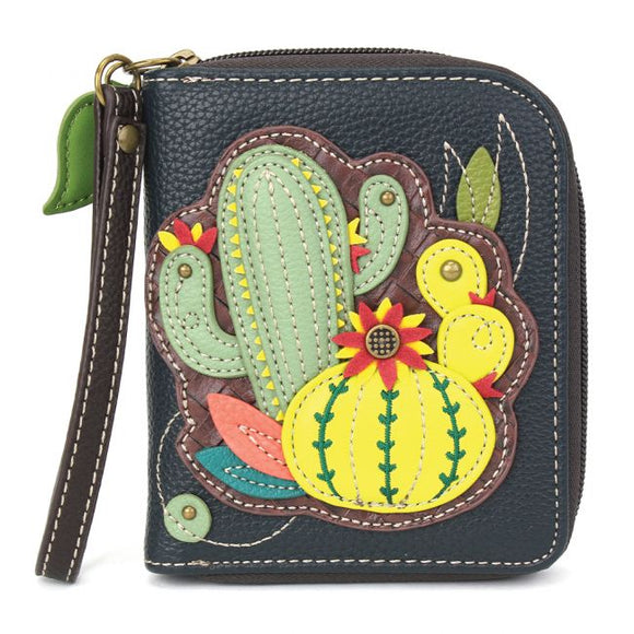 Cactus - Navy Zip Around Wallet