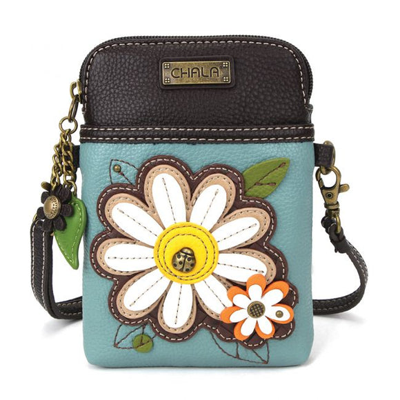 Cellphone Crossbody - Daisy - Blue