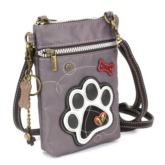 Cell Phone Crossbody Bag - RFID Protected - Paw Print Grey