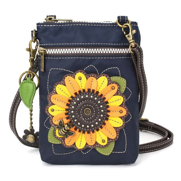 CV Venture Cellphone Crossbody - RFID Protected - Sunflower - Navy