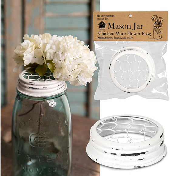 Mason Jar Lid - Chicken Wire Flower Frog - White