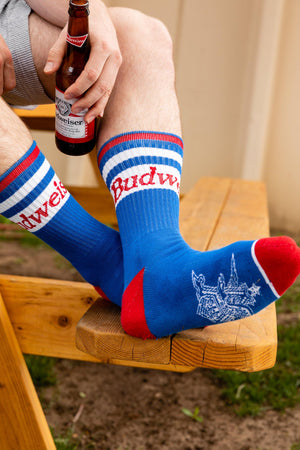 Budweiser Blue Red Socks