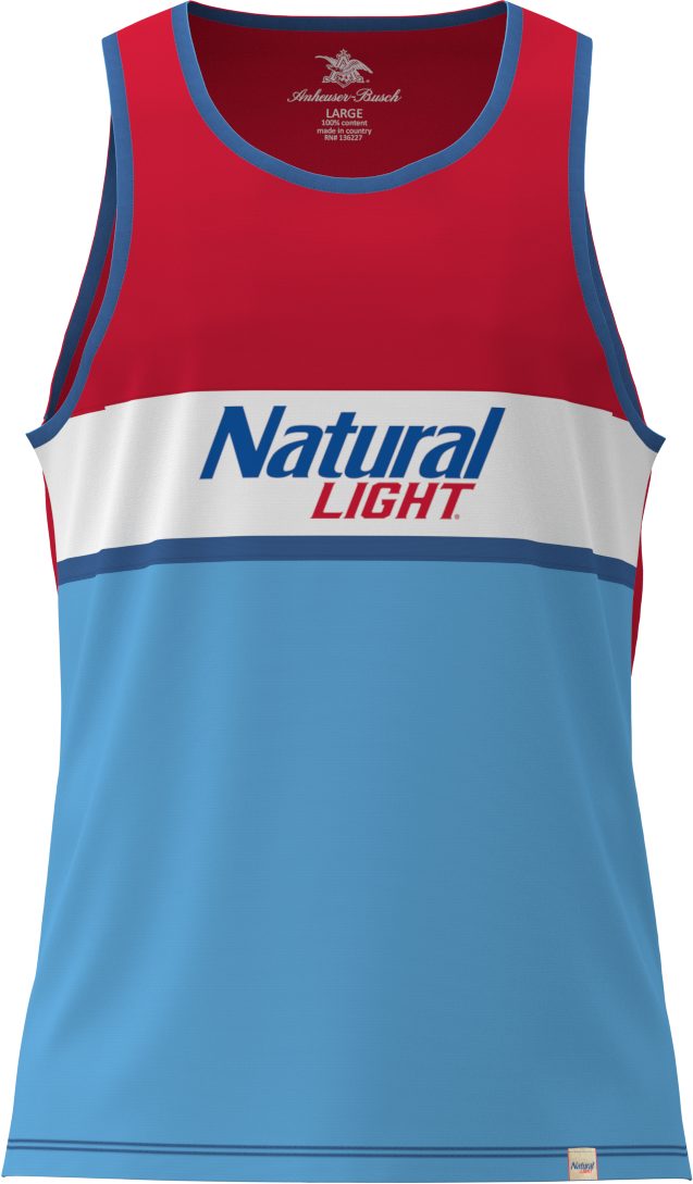 Men's Red/White/Blue Natural Light Crew Tank Top - Front
