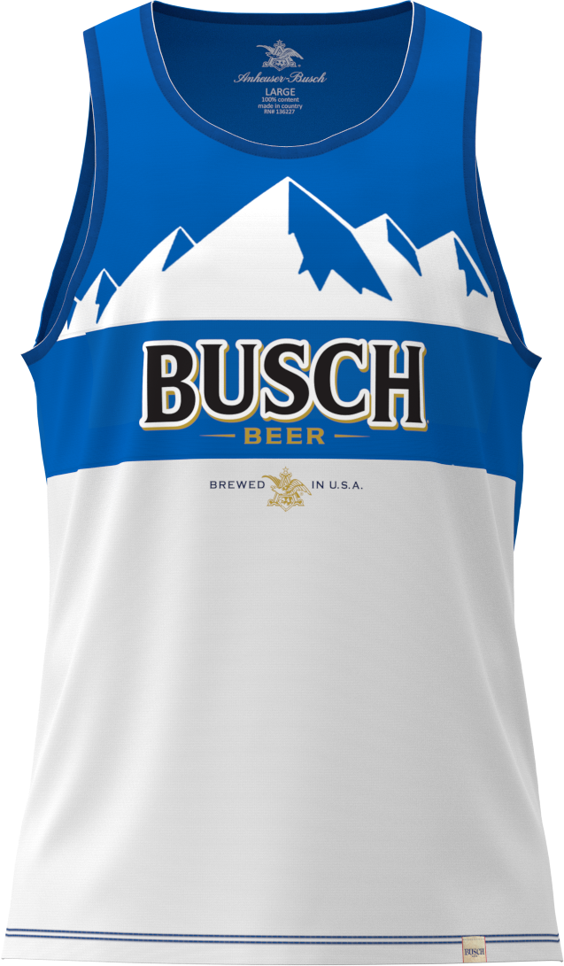 Men's White/Blue Busch Crew Tank Top - Front