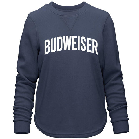 Ladies Budweiser Arched Applique Comfy Crew