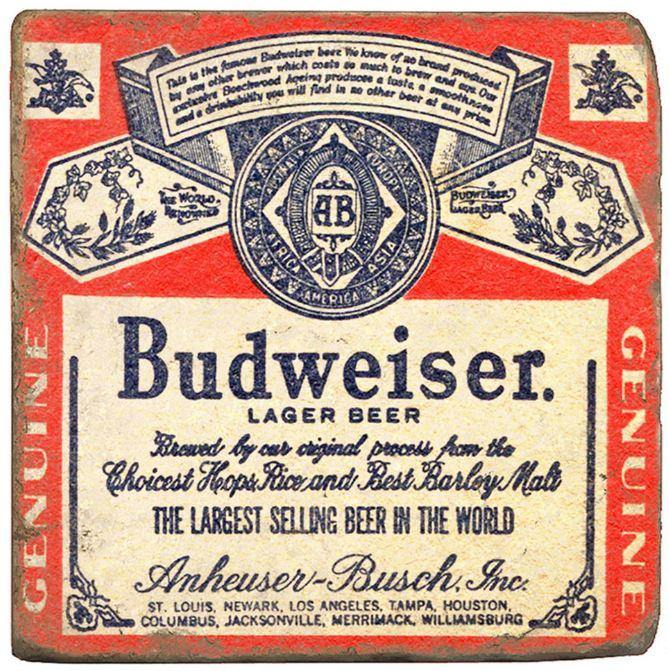 Budweiser Label Stone Coaster