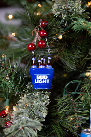 Bud Light Bottles in Ice Bucket Ornament