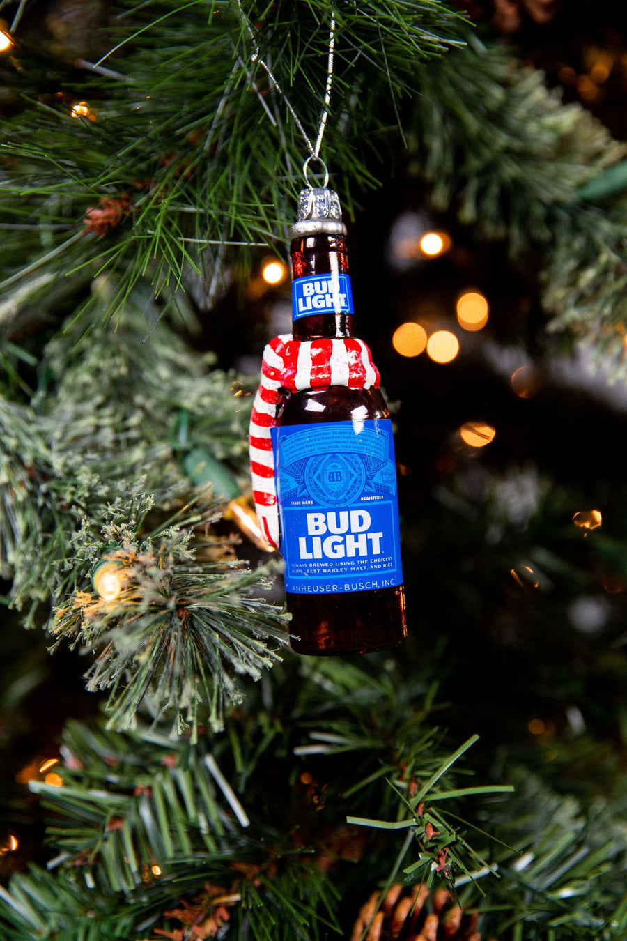 Bud Light Glass Can with Scarf Ornament
