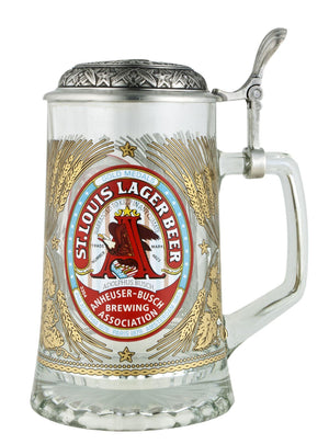 Anheuser-Busch Glass Stein With Embossed Lid