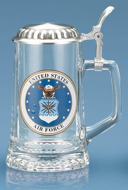 U.S. Air Force Glass Stein With Lid