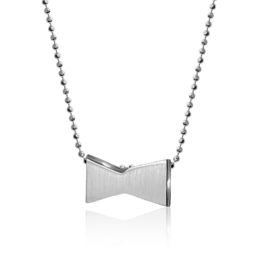From Jewelry designer Alex Woo a 14 carat silver budweiser bowtie necklace, 16 inches long