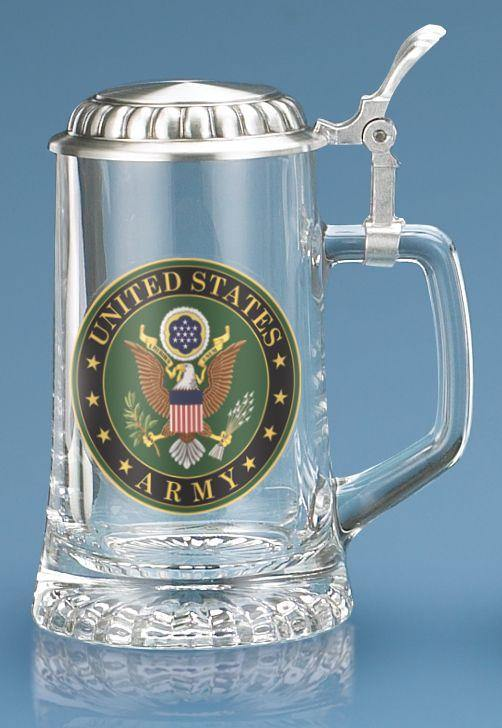 U.S. Army Glass Stein With Lid