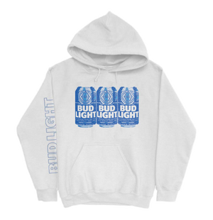 Bud Light White 3 Can Hoodie