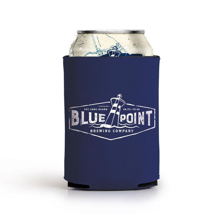 Navy Blue colored Blue Point Brewing Coolie.  Shown with Lighthouse logo.