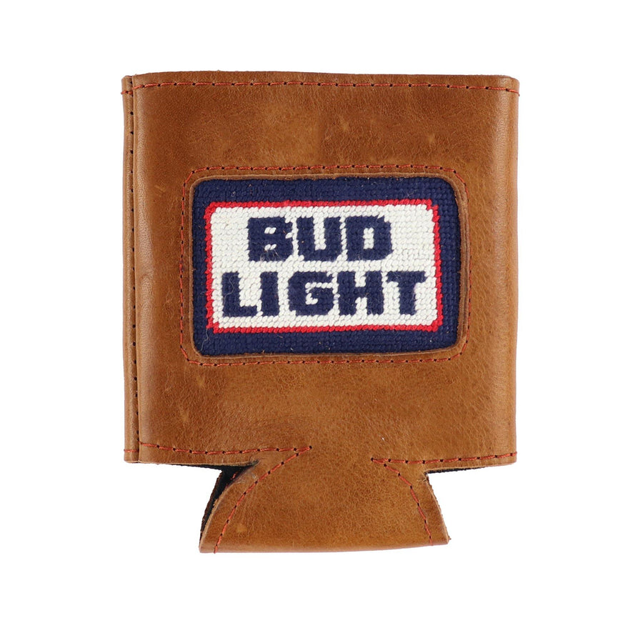 Smathers & Branson Leather and Needlepoint Coolie with retro Bud Light Logo
