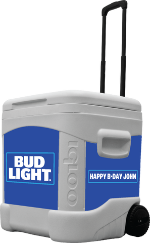 Bud Light Personalized 60 qt Rolling Cooler