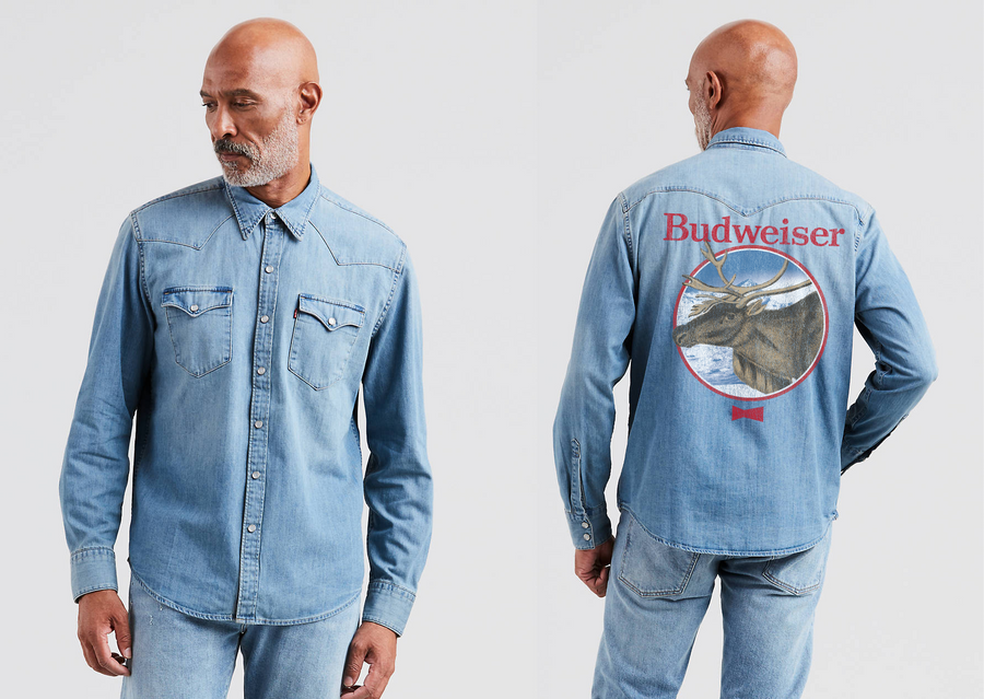 Budweiser Reindeer Denim Shirt