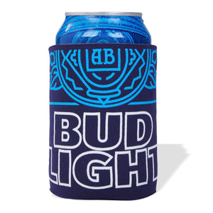 Dark Blue Coolie with Bud Light logo in white and graphic label details in light blue
