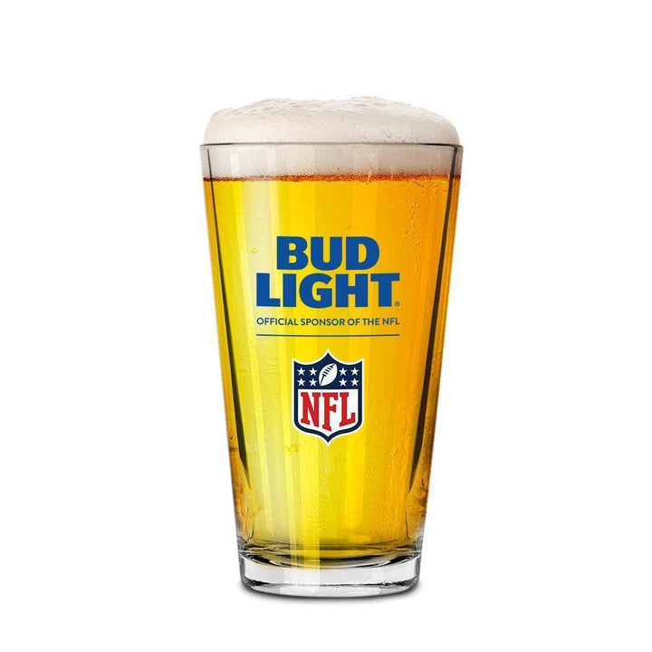 Bud Light Official Sponsor of the NFL pint glass.  Carries Bud Light and NFL logo