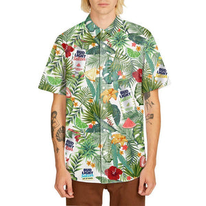 Hawaiian print shirt from Bud Light Seltzer featuring the new flavors from the Out Of Office Variety pack