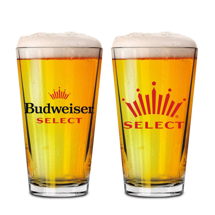 Budweiser Select 16oz Straight walled pint glass. Front side has Budweiser Select logo and opposite side has Crown icon with Select brand name below.