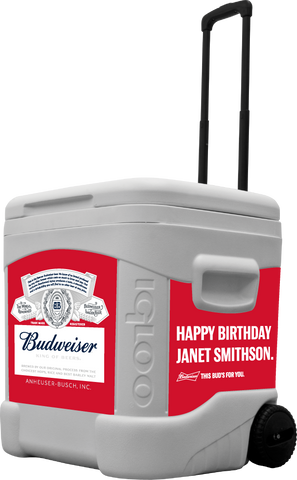 Budweiser Personalized 60 Qt Rolling Cooler