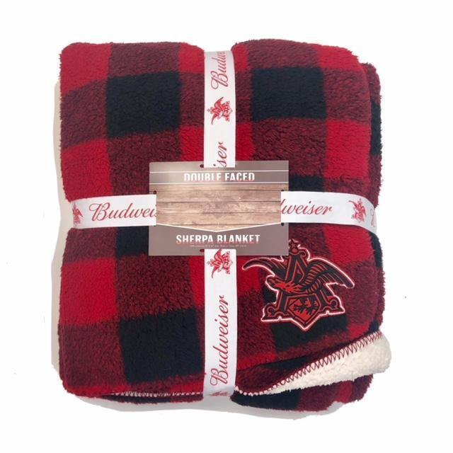 Red and Black Buffalo Plaid Budweiser Sherpa Blanket.  One side is plaid the other side is soft cream colored sherpa material