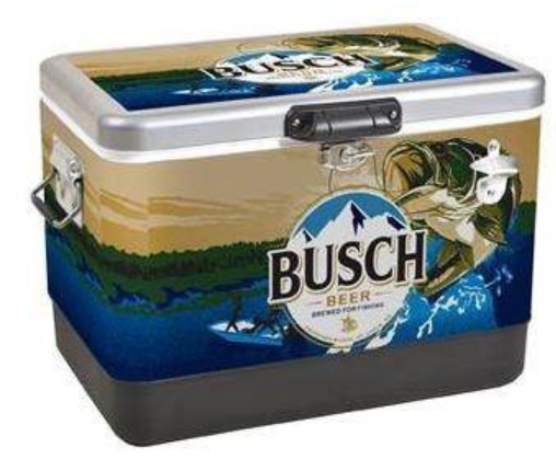 Busch Branded 54 quart cooler with Bass Fishing graphic