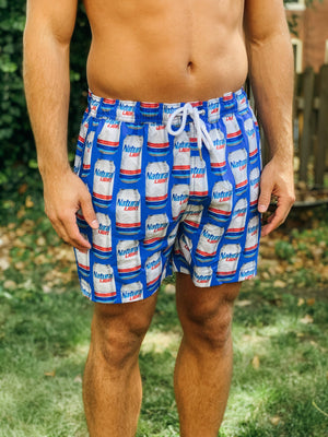 Natural Light Beer Can Swim Trunks