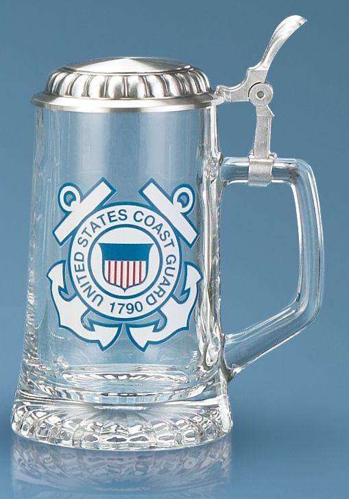U.S. Coast Guard Glass Stein With Lid