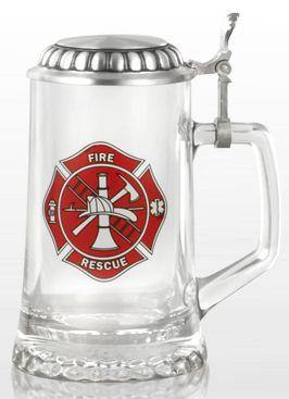 Firefighters Glass Stein With Lid