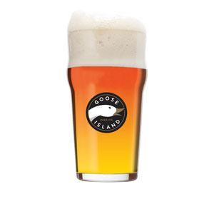 Goose Island Brewery  signature pint glass with Goose logo.  Can be customized for the perfect  Birthday, Groomsmen, Wedding or Father's Day gift