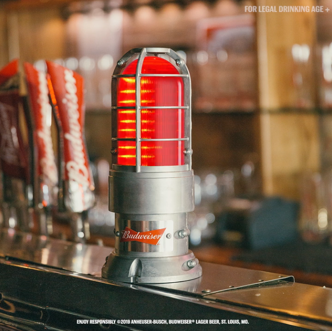 Video of Red Hockey Goal Light with Budweiser Branding.