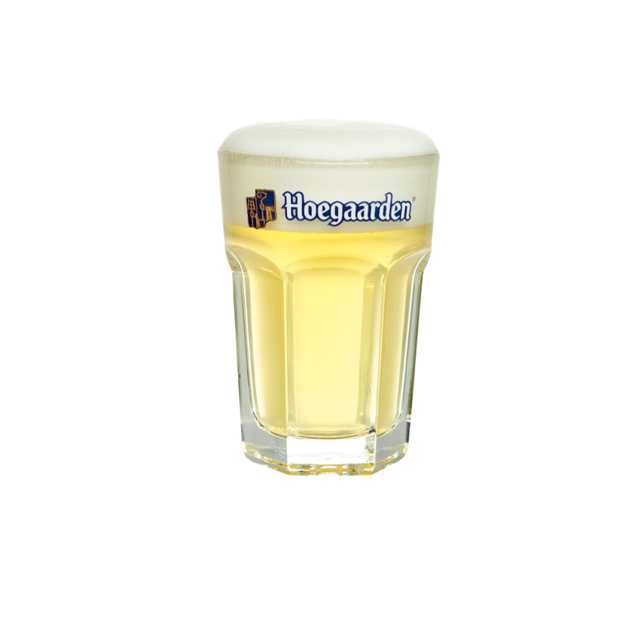 Hoegaarden 8oz sampling size glassware. Carries Hoegaarden logo on rim.