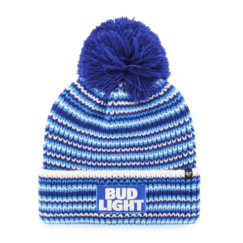 Bud Light Striped Pom Beanie