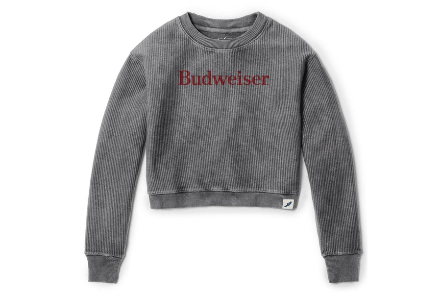Budweiser Ladies Crop Ribbed Crew