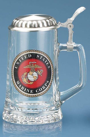 U.S. Marine Corps Glass Stein With Lid