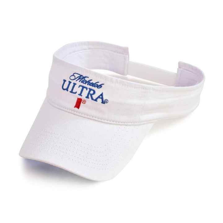 White visor with Michelob Ultra logo on front.  Features a self-fabric sweatband, and Velcro® closure