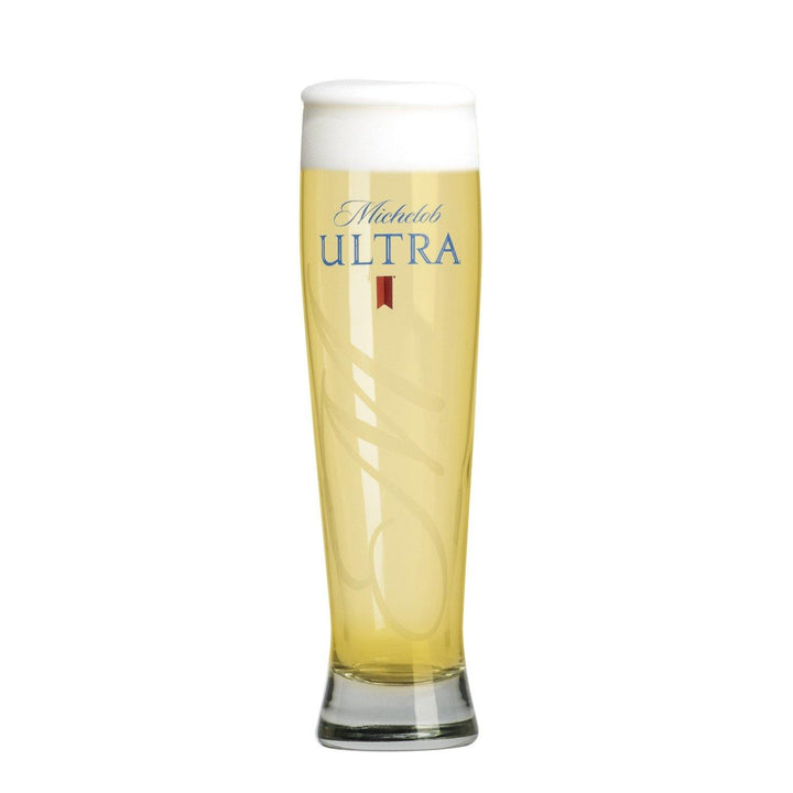 Michelob Ultra tall Pilsner 16 oz branded glassware.  With script M overlay and Michelob Ultra logo in blue.  Can be customized for the perfect Birthday, Groomsmen, Wedding or Father's Day gift.